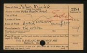 Entry card for Mihalik, Julius for the 1923 May Show.