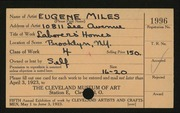 Entry card for Miles, Eugene R. for the 1923 May Show.