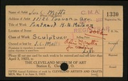 Entry card for Motto, Joseph C. for the 1923 May Show.