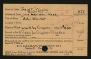 Entry card for Nicola, Galati, and Association for the Crippled and Disabled for the 1923 May Show.