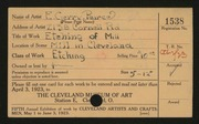 Entry card for Pearce, E. Gerry for the 1923 May Show.