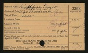 Entry card for Ponzio, Guiseppina for the 1923 May Show.