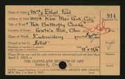 Entry card for Pool, Ethel for the 1923 May Show.