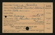 Entry card for Popovitch, Theresa, and Rainbow Hospital for Crippled and Convalescent Children for the 1923 May Show.