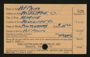 Entry card for Provo, W. F. for the 1923 May Show.
