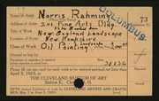 Entry card for Rahming, Norris for the 1923 May Show.