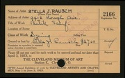 Entry card for Rausch, Stella J. for the 1923 May Show.