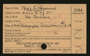Entry card for Raymond, Mary E. for the 1923 May Show.