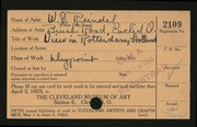 Entry card for Reindel, William George for the 1923 May Show.