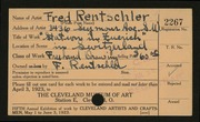 Entry card for Rentschler, Fred for the 1923 May Show.