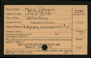 Entry card for Riggins, Marie for the 1923 May Show.