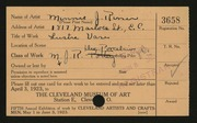 Entry card for Risser, Minnie J. for the 1923 May Show.