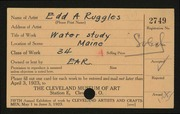 Entry card for Ruggles, E. A. (Edd Alvah) for the 1923 May Show.