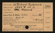 Entry card for Rychtarik, Richard for the 1923 May Show.