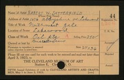 Entry card for Satterfield, Robert W. for the 1923 May Show.