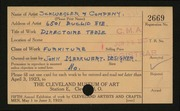 Entry card for Schwegler & Company, and Berg, Arthur W.; Markwart, John for the 1923 May Show.