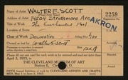 Entry card for Scott, Walter E. for the 1923 May Show.