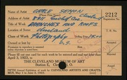 Entry card for Semon, Carle Edwin for the 1923 May Show.