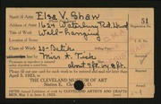 Entry card for Shaw, Elsa Vick for the 1923 May Show.