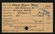 Entry card for Shaw, Glenn M. for the 1923 May Show.