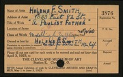 Entry card for Smith, Helene F. for the 1923 May Show.
