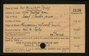 Entry card for Techy, Margaret for the 1923 May Show.