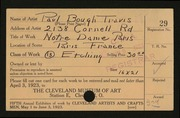 Entry card for Travis, Paul Bough for the 1923 May Show.