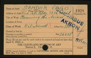 Entry card for Vago, Sandor for the 1923 May Show.