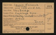 Entry card for Walasek, Ignace for the 1923 May Show.