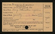 Entry card for Walker, Frances E. for the 1923 May Show.