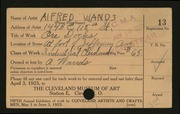 Entry card for Wands, Alfred J. for the 1923 May Show.