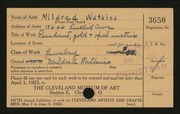 Entry card for Watkins, Mildred for the 1923 May Show.