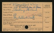 Entry card for Wilcox, Florence Bard for the 1923 May Show.