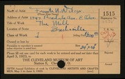 Entry card for Wilcox, Frank N. (Frank Nelson) for the 1923 May Show.