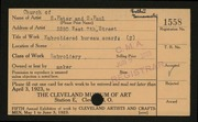 Entry card for Workers of Church of St. Peter and St. Paul for the 1923 May Show.