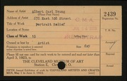 Entry card for Young, Albert Carl for the 1923 May Show.