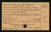 Entry card for Young, James H. for the 1923 May Show.