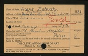 Entry card for Zatorsky, Frank, and Rainbow Hospital for Crippled and Convalescent Children for the 1923 May Show.