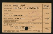 Entry card for Zutt, Louise M. for the 1923 May Show.