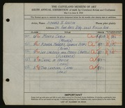Entry card for Austin, Howard B. for the 1924 May Show.