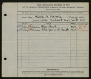 Entry card for Ayars, Alice A. for the 1924 May Show.