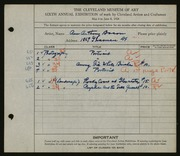 Entry card for Bacon, Ann Anthony for the 1924 May Show.
