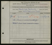 Entry card for Beckwith, Celste Lydia for the 1924 May Show.