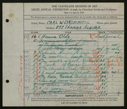 Entry card for Broemel, Carl William for the 1924 May Show.