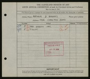 Entry card for Brooks, Arthur D. for the 1924 May Show.
