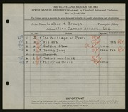 Entry card for Brough, Walter H. for the 1924 May Show.