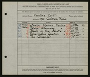Entry card for Coit, Caroline E. for the 1924 May Show.