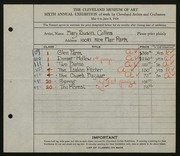 Entry card for Collins, Mary Susan for the 1924 May Show.