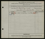 Entry card for Copeland, L. Harl for the 1924 May Show.