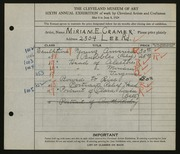 Entry card for Cramer, Miriam E. for the 1924 May Show.